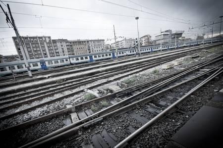 train station in Milan in a dark day photo