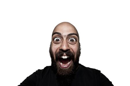 man with big eyes that screams on white background photo