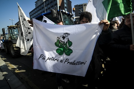 quotas: Milan, Italy - February, 22 2012: demonstration of tractors against milk quotas