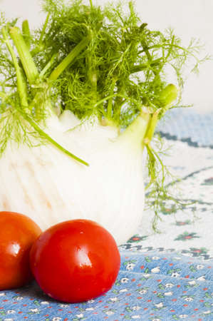 tomatoes and fennel on blue tablecloth on a table