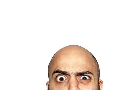 half funny face expression looking on white background photo