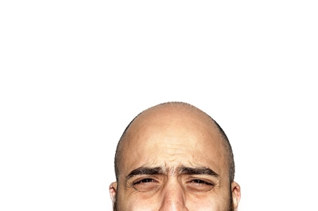 half face expression looking on white background photo
