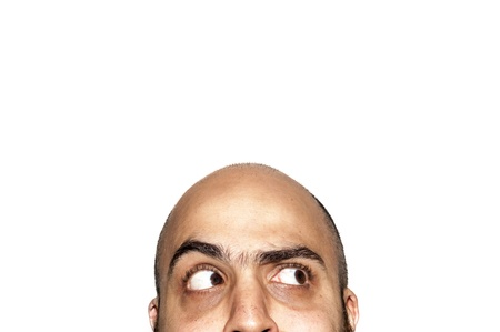 half funny face expression looking on white background Stock Photo - 12954613