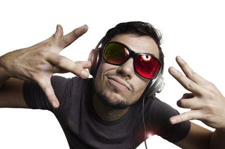 Crazy guy with headphones on white background photo