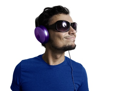 Crazy guy with headphones on white background Stock Photo - 15482954