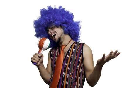 Crazy guy with blue wig on white background Stock Photo - 15482957