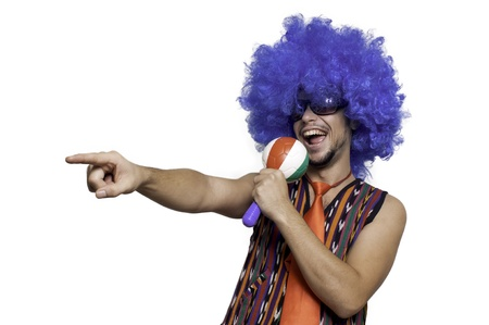 Crazy guy with blue wig on white background Stock Photo - 15482952