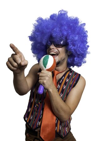 Crazy guy with blue wig on white background Stock Photo - 15482975