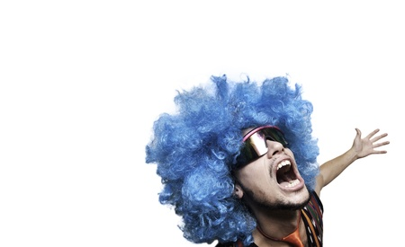 Crazy guy with blue wig on white background Stock Photo - 15482979