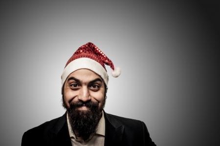 babbo natale: happy modern elegant santa claus babbo natale on grey background