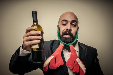 babbo natale: drunk modern elegant santa claus babbo natale on grey background