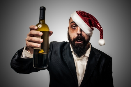 drunk modern elegant santa claus babbo natale on grey background Stock Photo - 16658239
