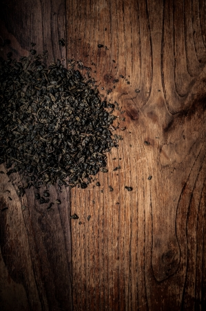 breen: breen tea leaves on brown wood Stock Photo