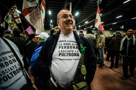 maroni: BERGAMO, ITALY - APRIL 14  Lega Nord meeting held in Bergamo April 14, 2012  The Italian right political party Lega Nord, meets with its voters to discuss internal problems and elect new president Editorial