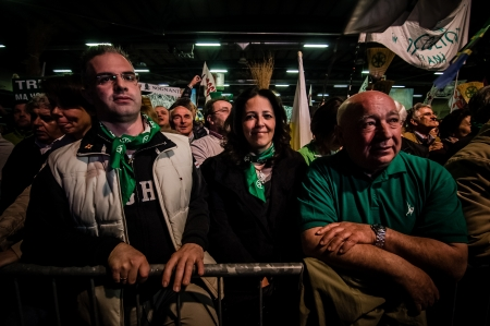 BERGAMO, ITALY - APRIL 14  Lega Nord meeting held in Bergamo April 14, 2012  The Italian right political party Lega Nord, meets with its voters to discuss internal problems and elect new president Stock Photo - 17402362
