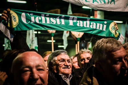 padania: BERGAMO, ITALY - APRIL 14  Lega Nord meeting held in Bergamo April 14, 2012  The Italian right political party Lega Nord, meets with its voters to discuss internal problems and elect new president Editorial