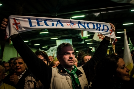 BERGAMO, ITALY - APRIL 14  Lega Nord meeting held in Bergamo April 14, 2012  The Italian right political party Lega Nord, meets with its voters to discuss internal problems and elect new president Stock Photo - 17402357