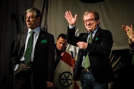 padania: BERGAMO, ITALY - APRIL 14 Maroni e Bossi in Bergamo April 14, 2012  The Italian right political party Lega Nord, meets with its voters to discuss internal problems and elect new president