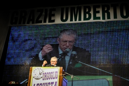padania: BERGAMO, ITALY - APRIL 14 Umberto Bossi in Bergamo April 14, 2012  The Italian right political party Lega Nord, meets with its voters to discuss internal problems and elect new president