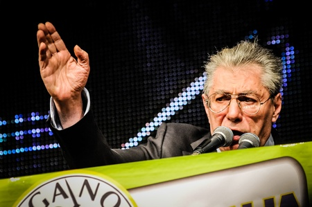 maroni: BERGAMO, ITALY - APRIL 14 Umberto Bossi in Bergamo April 14, 2012  The Italian right political party Lega Nord, meets with its voters to discuss internal problems and elect new president
