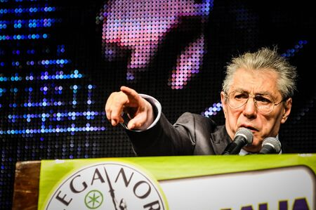 BERGAMO, ITALY - APRIL 14 Umberto Bossi in Bergamo April 14, 2012  The Italian right political party Lega Nord, meets with its voters to discuss internal problems and elect new president Stock Photo - 17402341