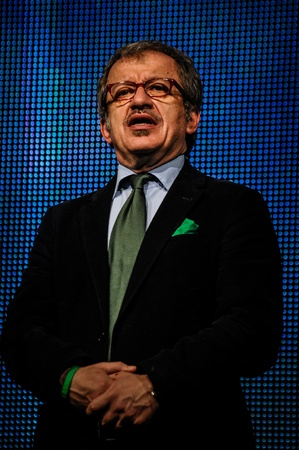 maroni: BERGAMO, ITALY - APRIL 14 Roberto Maroni in Bergamo April 14, 2012  The Italian right political party Lega Nord, meets with its voters to discuss internal problems and elect new president