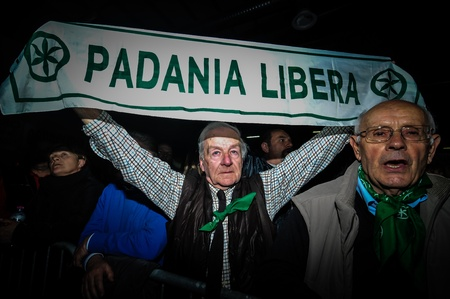 BERGAMO, ITALY - APRIL 14  Lega Nord meeting held in Bergamo April 14, 2012  The Italian right political party Lega Nord, meets with its voters to discuss internal problems and elect new president Stock Photo - 17402328