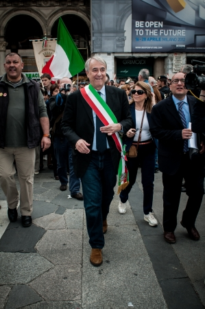 MILAN, ITALY - APRIL 25  Giuliano Pisapia in Milan on April, 25 2012  Manifestation for Italian celebration of liberation, held every here in Italy to remember nazifascism liberation in 1945 Stock Photo - 17402837