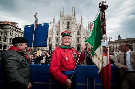 MILAN, ITALY - APRIL 25  celebration of liberation in Milan on April, 25 2012  Manifestation for Italian celebration of liberation, held every here in Italy to remember nazifascism liberation in 1945 Stock Photo - 17402666