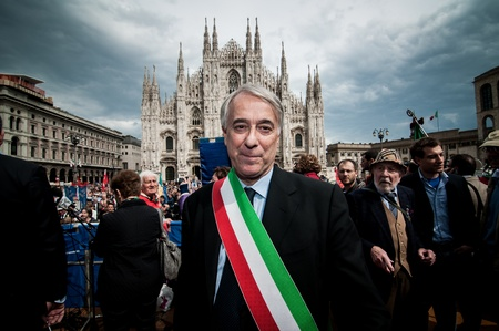 syndicate: MILAN, ITALY - APRIL 25  Giuliano Pisapia in Milan on April, 25 2012  Manifestation for Italian celebration of liberation, held every here in Italy to remember nazifascism liberation in 1945
