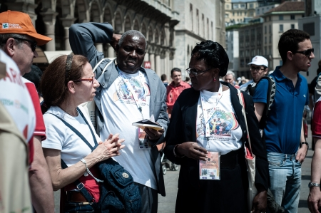 MILAN, ITALY - JUNE 1  Pope Benedict XVI in Milan JUNE 1, 2012  Pilgrims arrive in Milan from all around the world for the Pope Benedict XVI s visit Stock Photo - 17435615