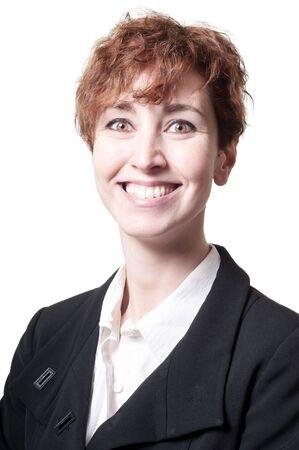 hair short: sorridente successo di breve capelli donna d'affari su sfondo bianco