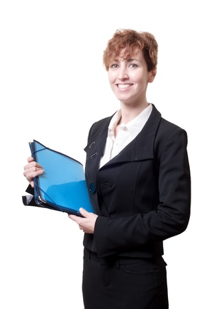 success business woman with briefcase on white background Stock Photo - 18490509