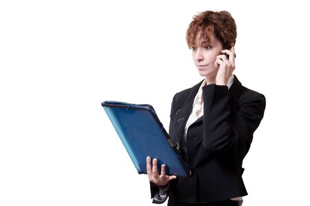 success business woman with briefcase and phone on white background Stock Photo - 18490039