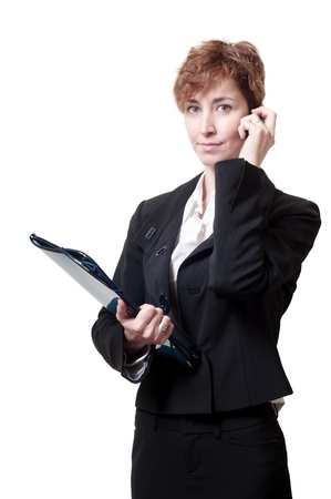 success business woman with briefcase and phone on white background Stock Photo - 18490644