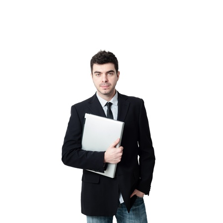 business man with notebook on white background photo