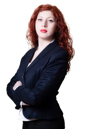 long red hair woman: success business long red hair woman on white background Stock Photo