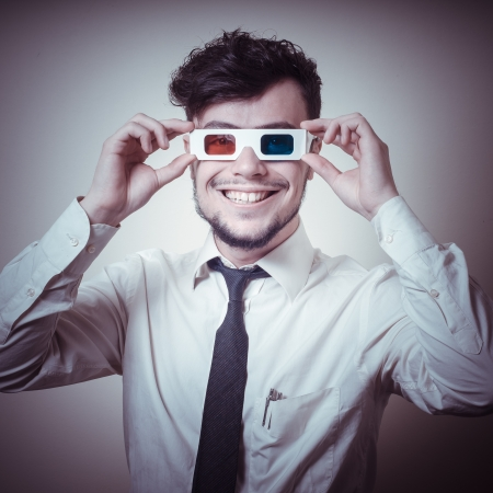 businessman with 3d eyewear on gray background photo