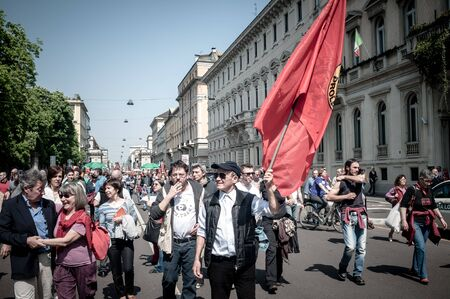 nazism: MILAN, ITALY - APRIL 25: celebration of liberation held in Milan on 25 April 2013. thousands of people took to the streets in Milan to celebrate the anniversary of the liberation of Italy from Nazism and Fascism Editorial