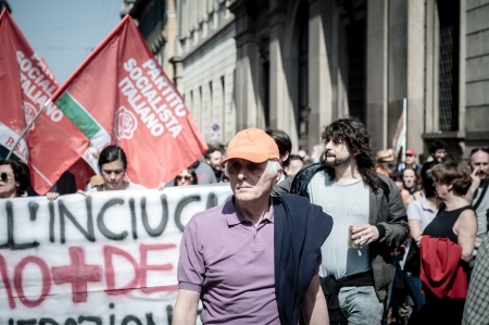 fascism: MILAN, ITALY - APRIL 25: celebration of liberation held in Milan on 25 April 2013. thousands of people took to the streets in Milan to celebrate the anniversary of the liberation of Italy from Nazism and Fascism Editorial