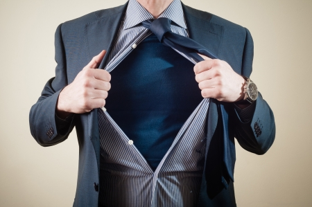 superhero businessman on white background Stock Photo