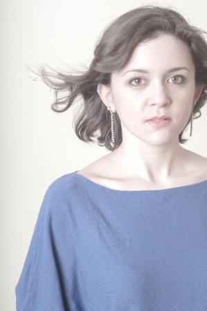 vignetting: vintage portrait of young woman on vignetting background