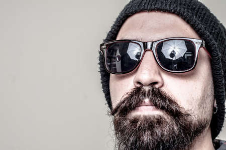 long beard: long beard and mustache hipster with elegant suit  Stock Photo