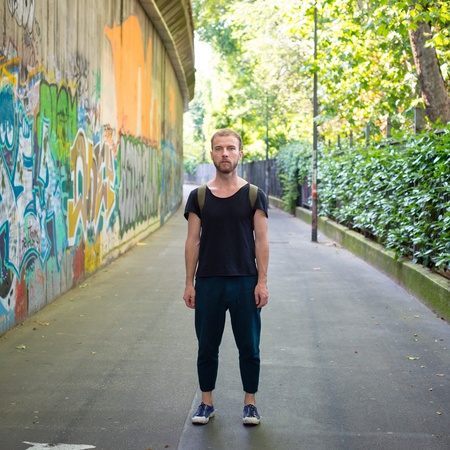 daily life: hipster modern stylish blonde man in daily life