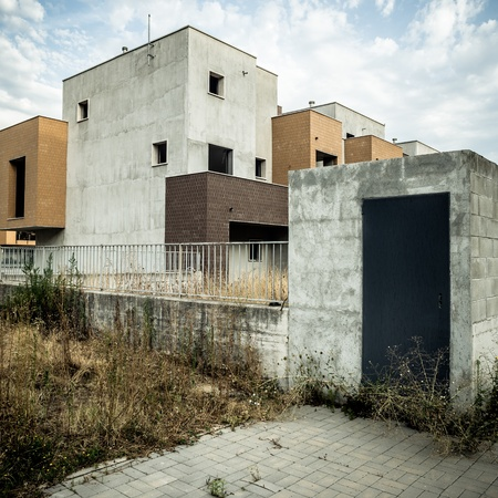 desolate: desolate suburb landscape in a gloomy day