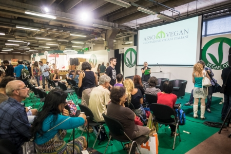 BOLOGNA, ITALY - SEPTEMBER 8: Vegan Fest at Bologna Sana on September 8, 2013. Thousands of people visited the fair vegan fest where were presented vegan biological products, vegan cook and animal rights convention.