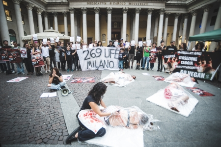 corpses: MILAN, ITALY - SEPTEMBER 26: 269 Life  manifestation on September 26, 2013. Animal right association 269 Life protest against vivisection, animals right, meat nutrition and production Editorial