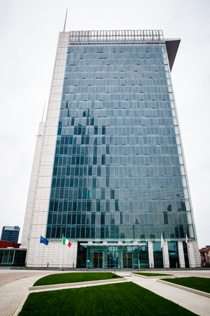 MILAN, ITALY - SEPTEMBER 27: Garibaldi Towers exterior on September 8, 2013. Garibaldi Towers are two important modern skyscrapers, 100 meter high, energy self-sufficient thanks to solar panels and insulating materials