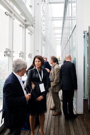 MILAN, ITALY - SEPTEMBER 27: Garibaldi Towers interior on September 8, 2013. Garibaldi Towers are two important modern skyscrapers, 100 meter high, energy self-sufficient thanks to solar panels and insulating materials