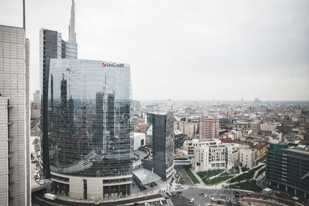 MILAN, ITALY - SEPTEMBER 27: View from Garibaldi Towers on September 8, 2013. Garibaldi Towers are two important modern skyscrapers, 100 meter high, energy self-sufficient thanks to solar panels and insulating materials